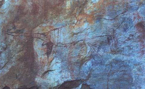 Peinture rupestre représentant un thylacine